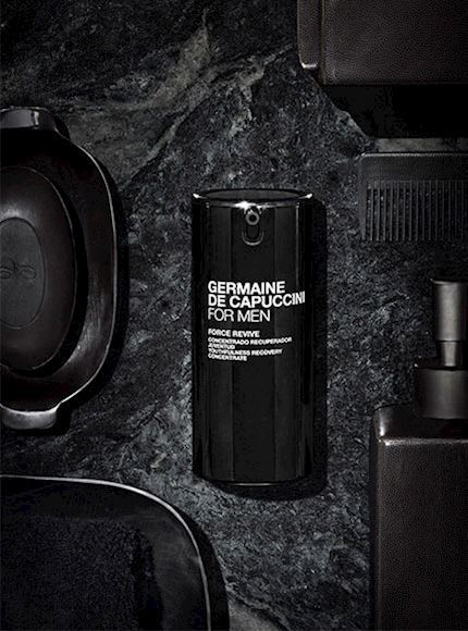 Professional men's skincare products by Germaine De Capuccini, used for spa treatments