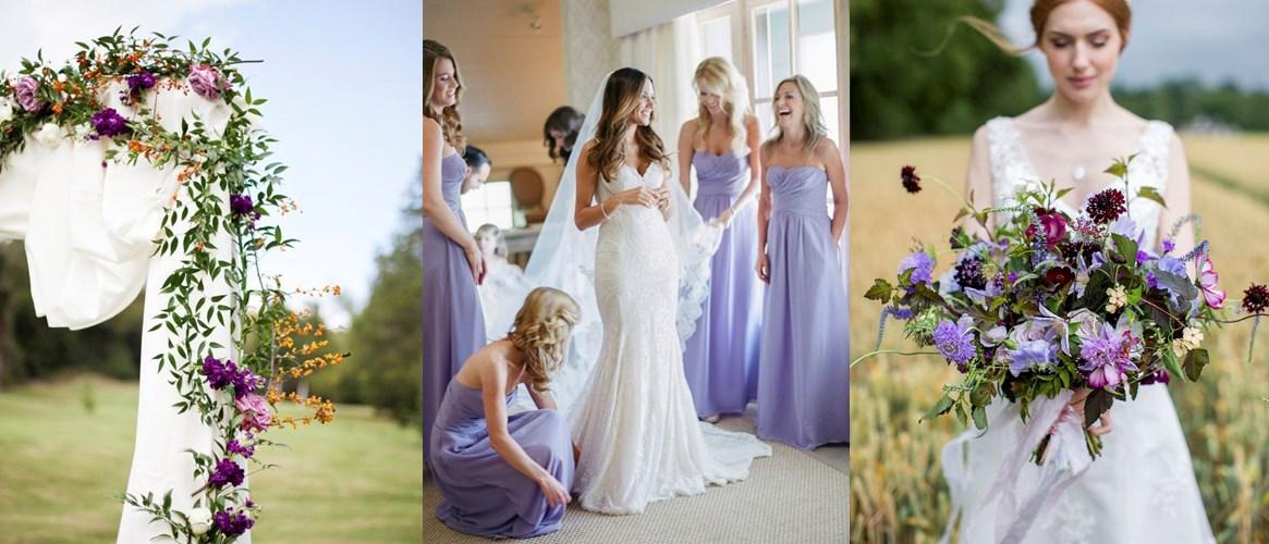 robes demoiselles d'honneur violettes et bouquet violet pour mariée